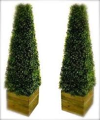 pair of stunning artificial trees 3ft pyramid cones includes