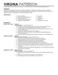 cashier resume sample cashier food and restaurant summary