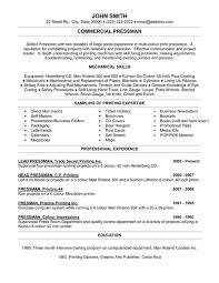 click here to download this commercial pressman resume template
