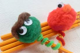 sesame street pom pom pencil toppers from wine to whine