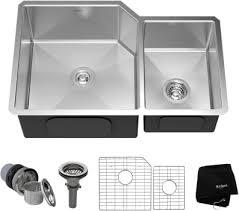 scratch resistant stainless steel sink kraus khu12332 32 inch undermount 60 40 double bowl kitchen sink