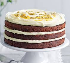 chocolate layer cake with passion fruit icing recipe bbc good food