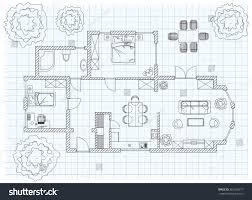 black white floor plan sketch house stock vector 281289317