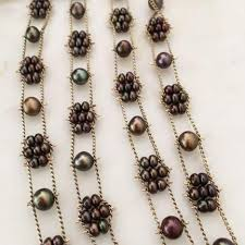 necklace pearls ribbon images Tiny flowers ribbon necklace brown pearl estyn hulbert jpg
