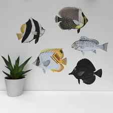 fish wall stickers notnthehighstreet com black and white tropical fish wall sticker set wall stickers