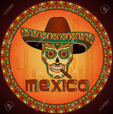 traditional mexican skull with sombrero vector skull in mexican