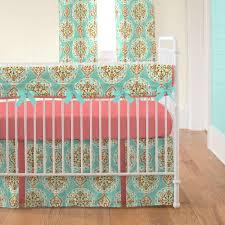 coral and aqua medallion crib rail cover carousel designs