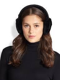 ugg earmuffs sale ugg leather trimmed shearling built in speaker earmuffs in black