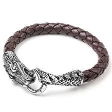 dragon leather bracelet images Shop crucible men 39 s stainless steel woven leather dragon bracelet jpg