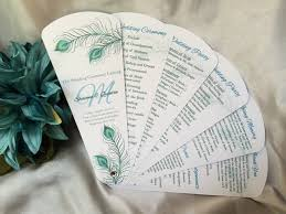wedding fan program flowing peacock petal fan wedding program