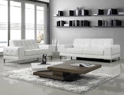 Contemporary White Leather Sofas J M Modern Manhattan Leather Sofa In White Or Black