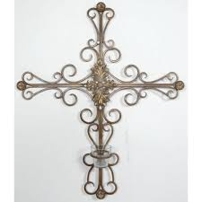 wall cross with candleholder iron scroll work made ebay