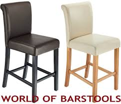 Wooden Breakfast Bar Stool White Leather High Back Bar Stools Rattan Comfortable With Arms