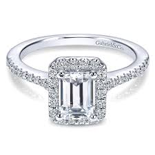emerald cut rings images 14k white gold emerald cut diamond halo with pave shank 14k white jpg