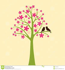 card with floral tree and bird royalty free stock images