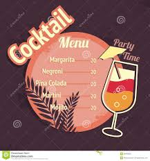 alcohol cocktails drink menu card template stock vector image