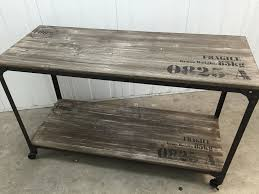 iron rustic wood hall table with castor wheels industrial chic