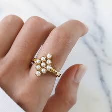 v shape diamond with fresh water pearl ring christine k jewelry heritage pearl cluster ring diamond shape 14k gold classic