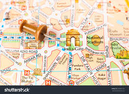 New Delhi India Map by Delhi City Map Detail Focus On Stock Photo 259691165 Shutterstock
