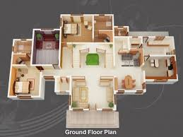 4 Bed House Plans Stylish 3d 4 Bedroom House Plans This Is A 3d Floor Plan View Of