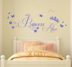 princess crown personalised name children bedroom wall art