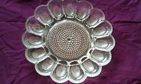 deviled egg serving plate vintage indiana glass hobnail deviled egg serving platter plate
