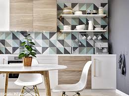 cr dence cuisine en papier peint lavable inspiration vitrail