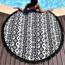 Outdoor Round Rug by Portable Round Beach Throw Yoga Mat Towel Tapestry Picnic Blanket