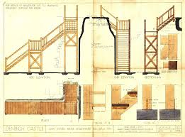 Castle Plans by Plans Elevation And Section Drawings Of Stairs To Wall Top