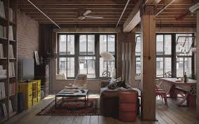 industrial interiors home decor interior appartment interior industrial design with wood columns