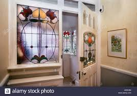 decorative edwardian stained glass front door taken from interior