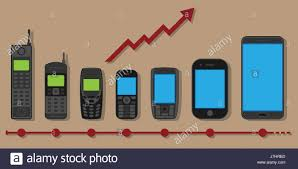 history of telephone mobile phone evolution vector concept in flat style with the