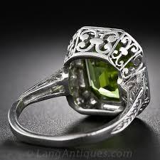 art deco peridot platinum and diamond ring