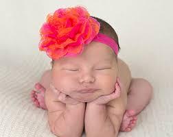 baby girl bows pink orange hair bow etsy
