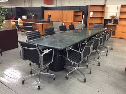 Eames Boardroom Table V1 Green Granite Conference Table W Black Metal Cylinder Bases