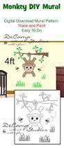 diy jungle monkey wall mural printable pattern trace paint boy diy