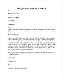 sample resignation letter short notice 6 free documents