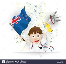 Lsw Flag Football New Zealand Soccer Fan Flag Cartoon Stock Vector Art