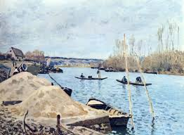 the seine at port marly sand piles 1875 alfred sisley wikiart org