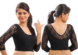 pattern of net blouse buy black velvet and lace stitched blouse online