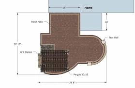 Large Paver Patio Design With Grill Station Bar Plan No by Outdoor Entertainment Patio Design With Pergola And Bar 855 Sq