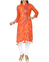 shop orange colour straightcut kurti with floral prints from