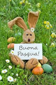 italian easter egg italian easter card with easter bunny and easter eggs stock photo