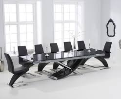 Black Glass Extending Dining Table 6 Chairs 210cm Extending Black Glass Dining Table With Hstead Z