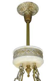 Alabaster Chandelier Vintage Hardware Lighting Deco Grand Alabaster Bowl
