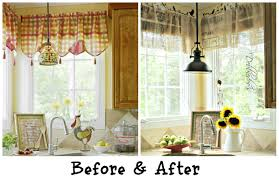 Kitchen Window Decor Ideas Decorations Burlap Window Treatments For Cute Interior Home