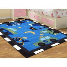 fun automobile traffic blue kids floor rugs free shipping