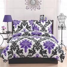 Black And White Toile Bedding Decorations Teen Black And White Bedding With Purple Color