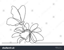 single line drawing butterfly flowers stock vector 672323611