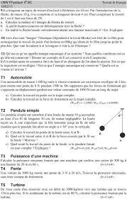 poids si e auto exercices sur travail puissance et l énergie mécanique pdf